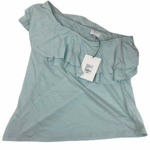 Witchery Blue One Shoulder Ruffle Top Size L NWT